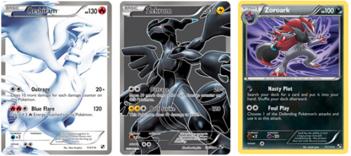 Reshiram, Zekrom e Zoroark del Set Black and White Collection.PNG