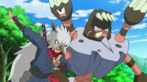 Riassunto dell'episodio XY052 - Confronto tra Arti Ninja! Frogadier contro Barbaracle!